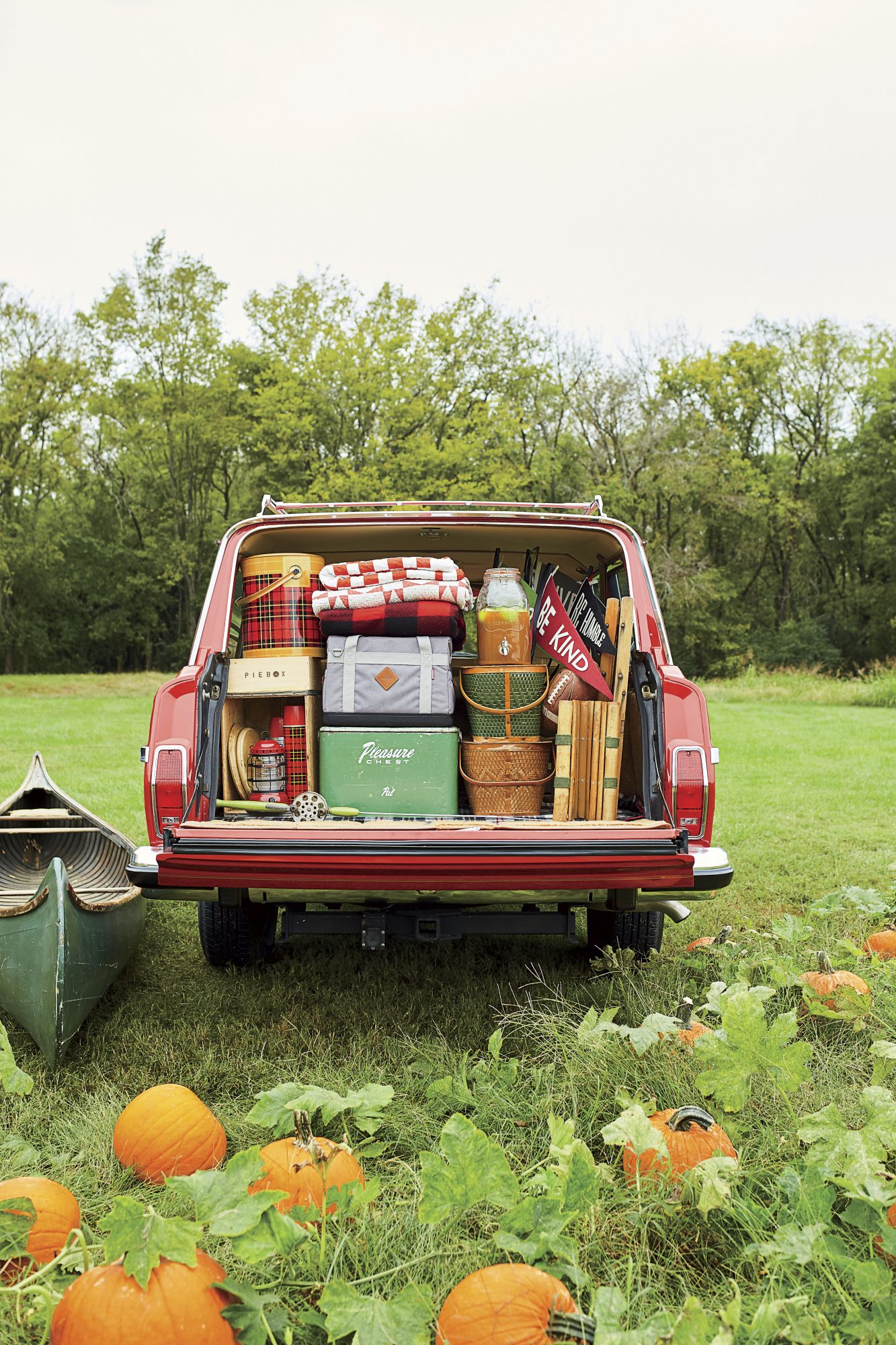 Katie Jacobs Fall Tailgate at Pumpkin Patch Jeep Packed with Supplies