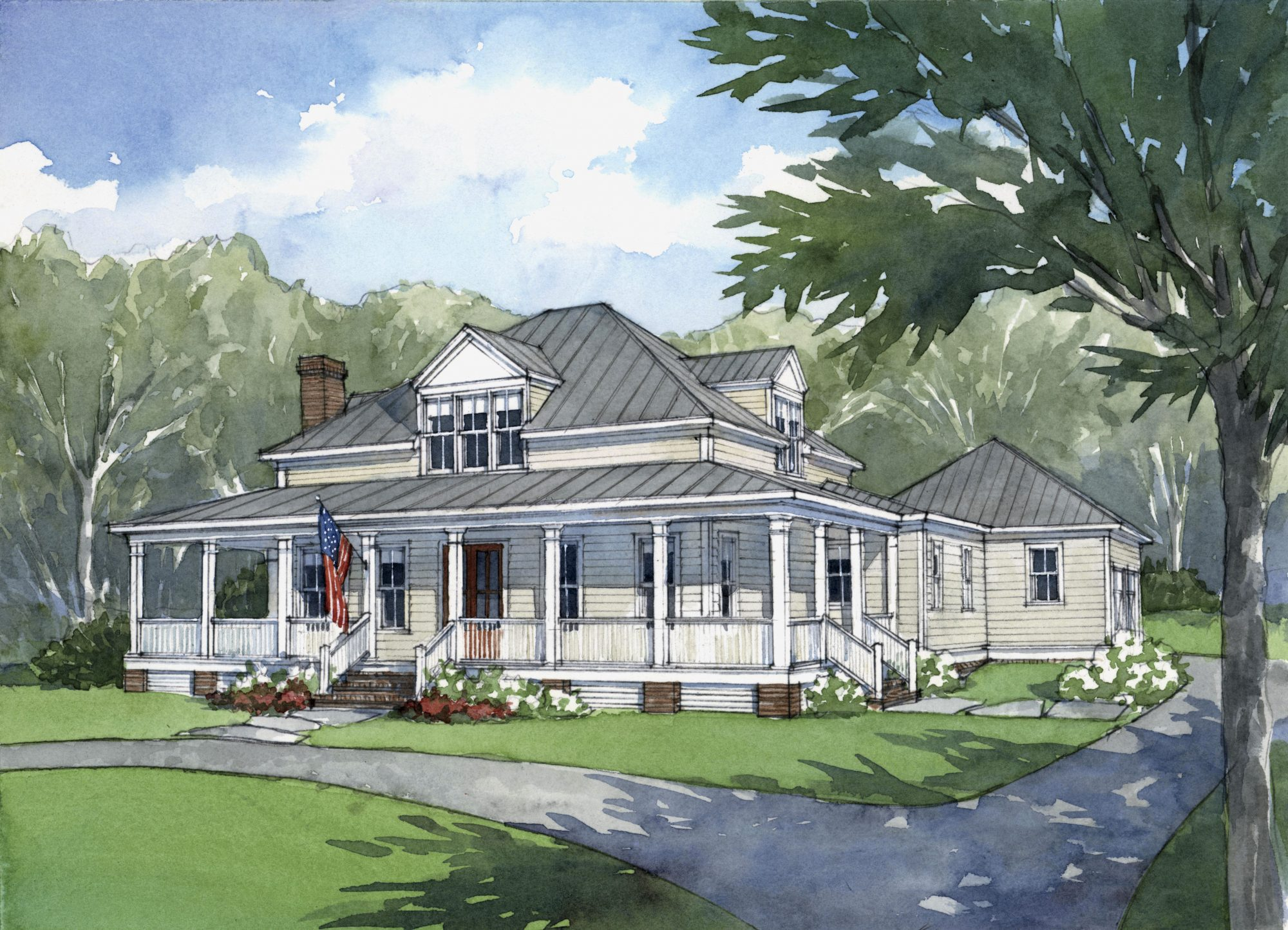 American Farmhouse House Plan Rendering