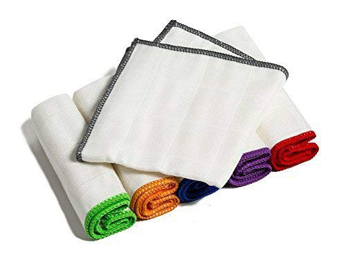 100% Bamboo Kitchen Dish Cloths (6 Pack) White Washcloths