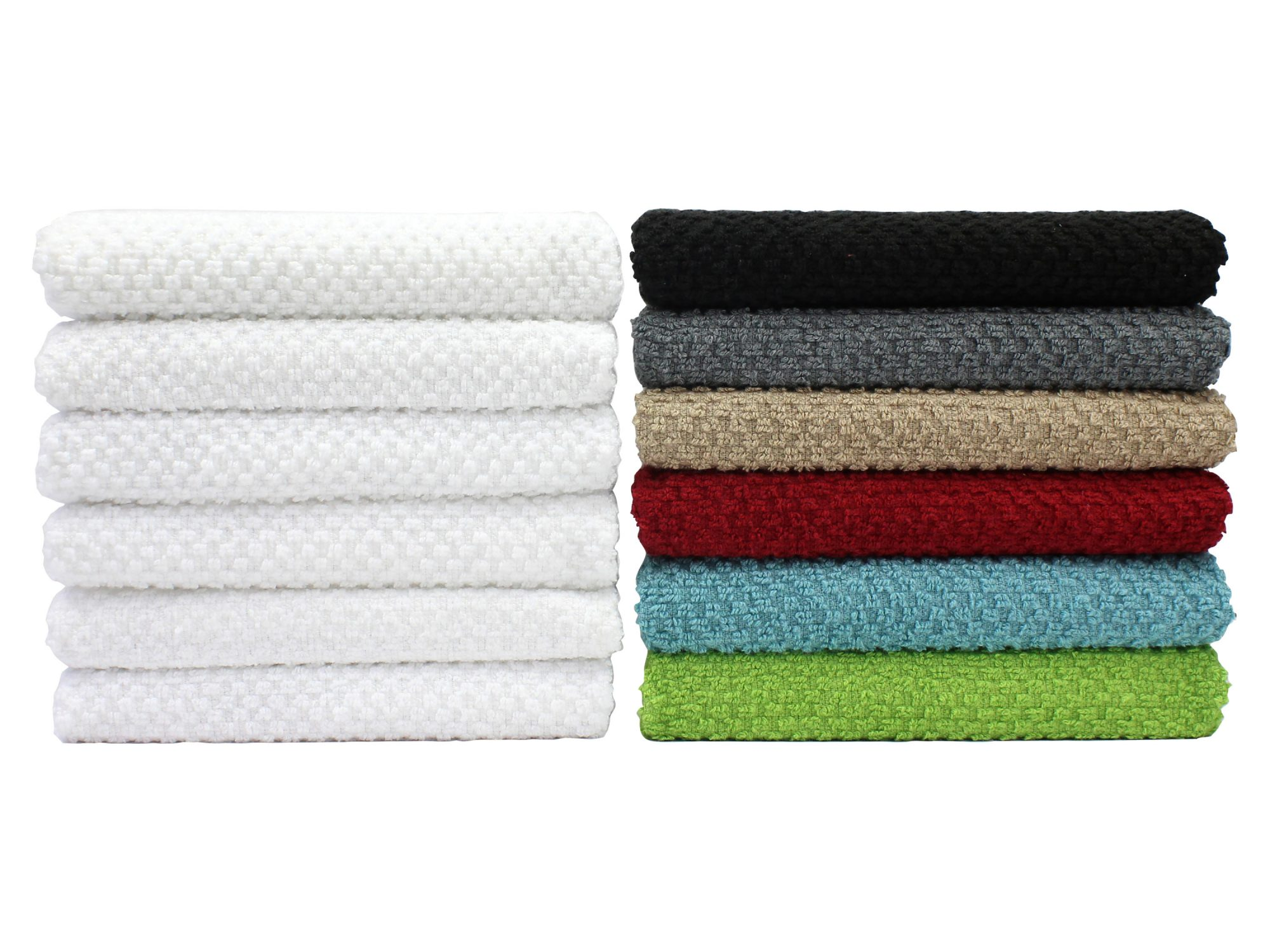 Mainstays (12) Pack Terry Kitchen Towel Set in Solid and Stripes