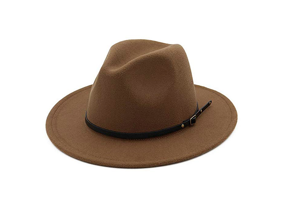 Wide-Brimmed Hat: Lisianthus Women Belt Buckle Fedora Hat
