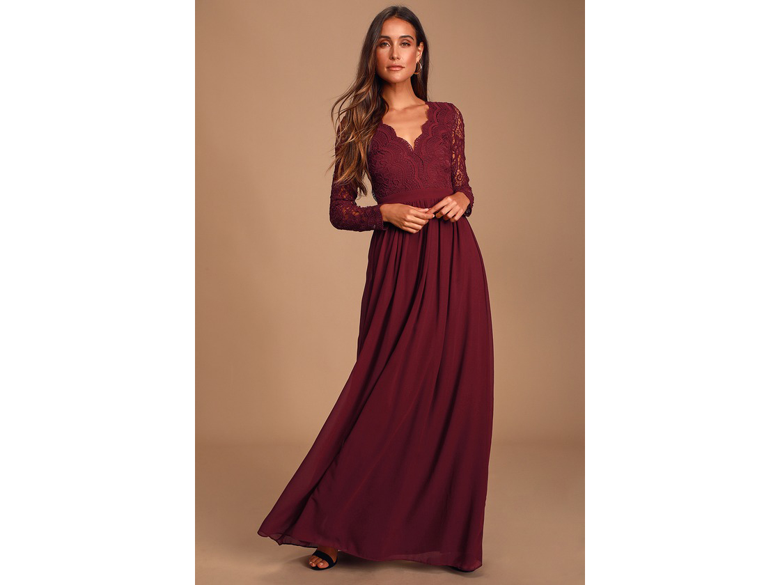 Lulus Awaken My Love Burgundy Long Sleeve Lace Maxi
