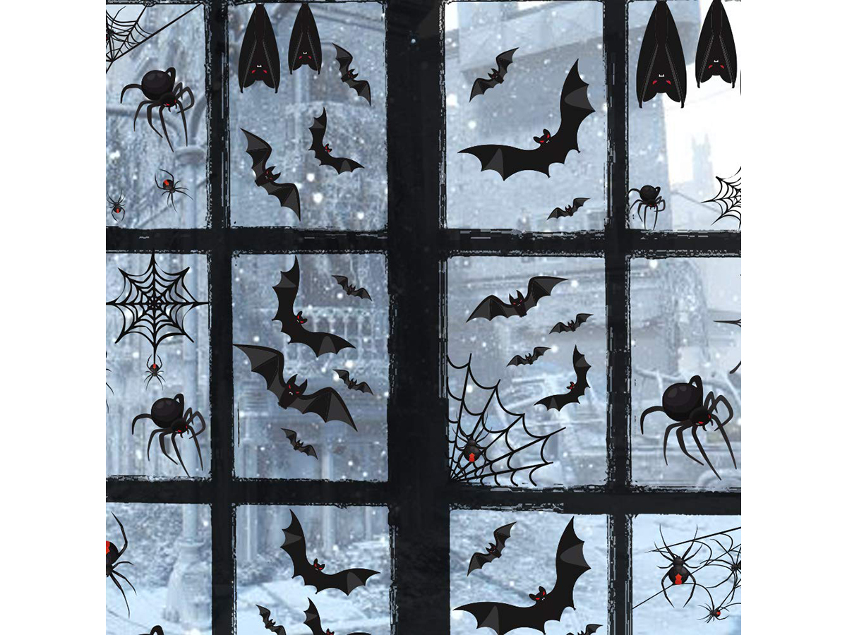 Halloween Party Decorations Black Bats Spiders Window Clings Decals Stickers