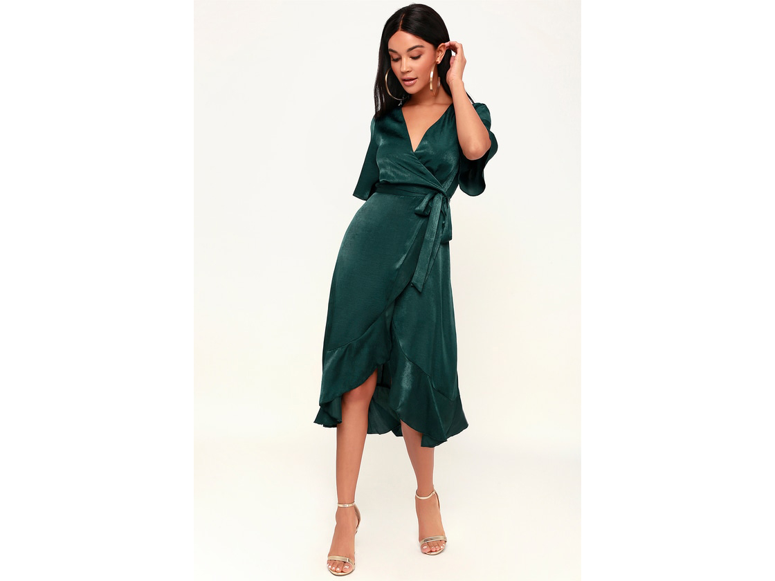 Lulus Wrapped Up In Love Satin Wrap Midi Dress