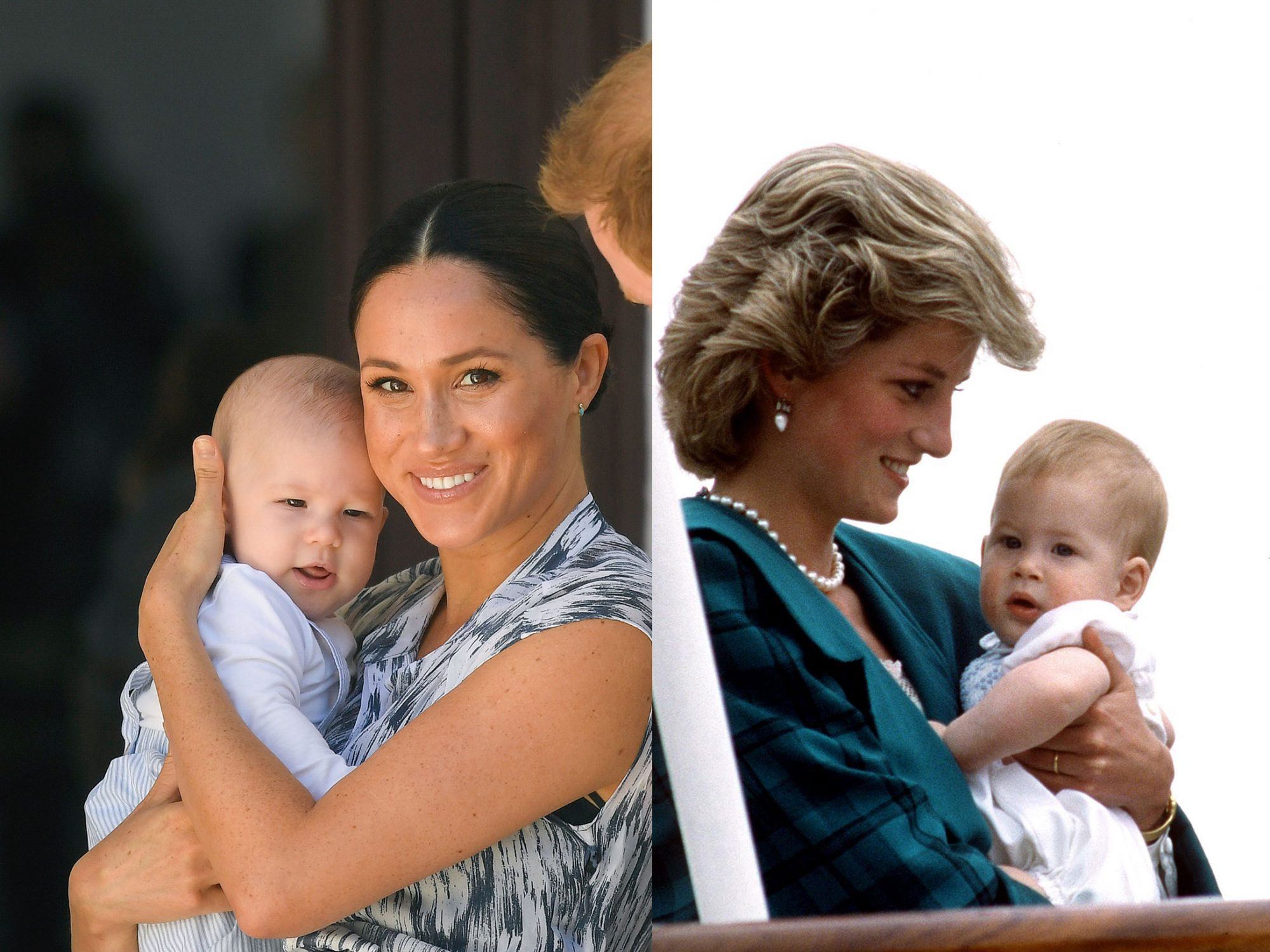 Duchess of Sussex with Archie and Princess Diana with Harry