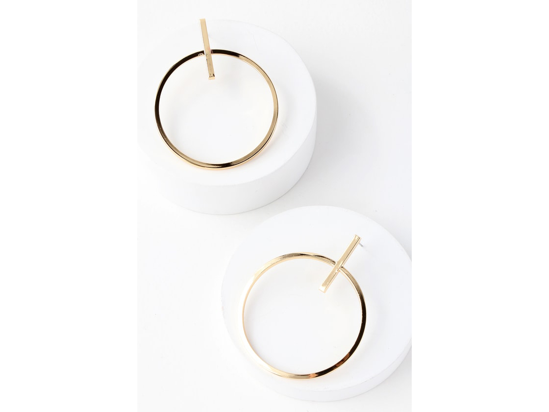 Lulus Keep It Contemporary Gold Earrings