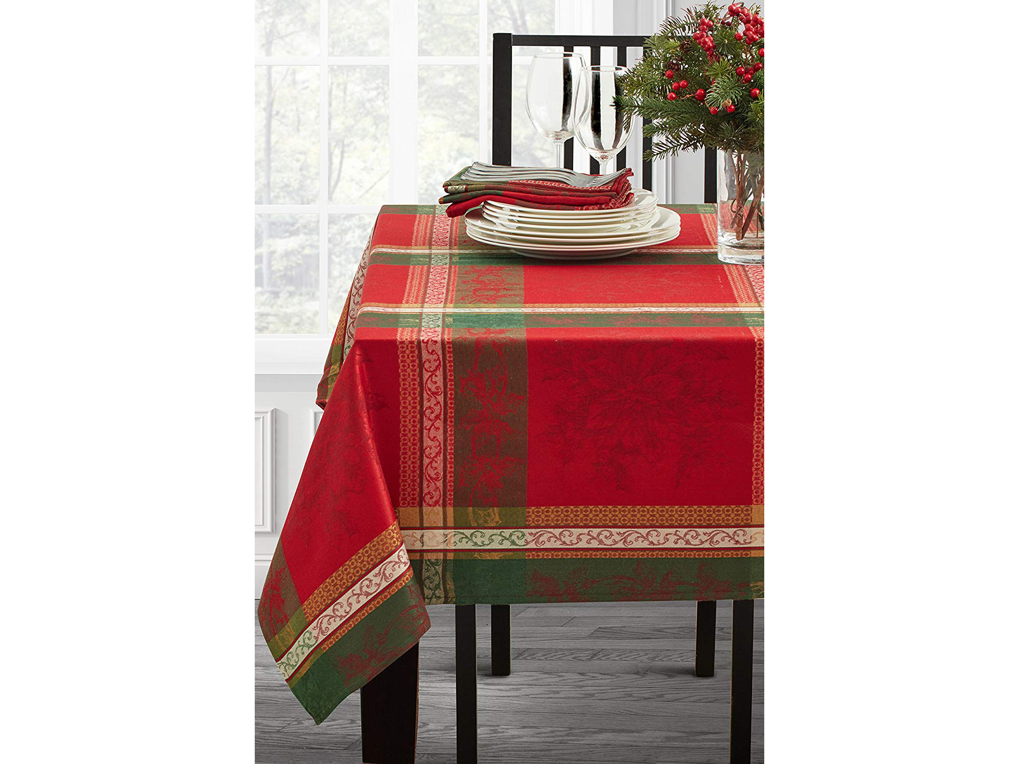 Holiday Legacy Yarn dyed Christmas Tablecloth