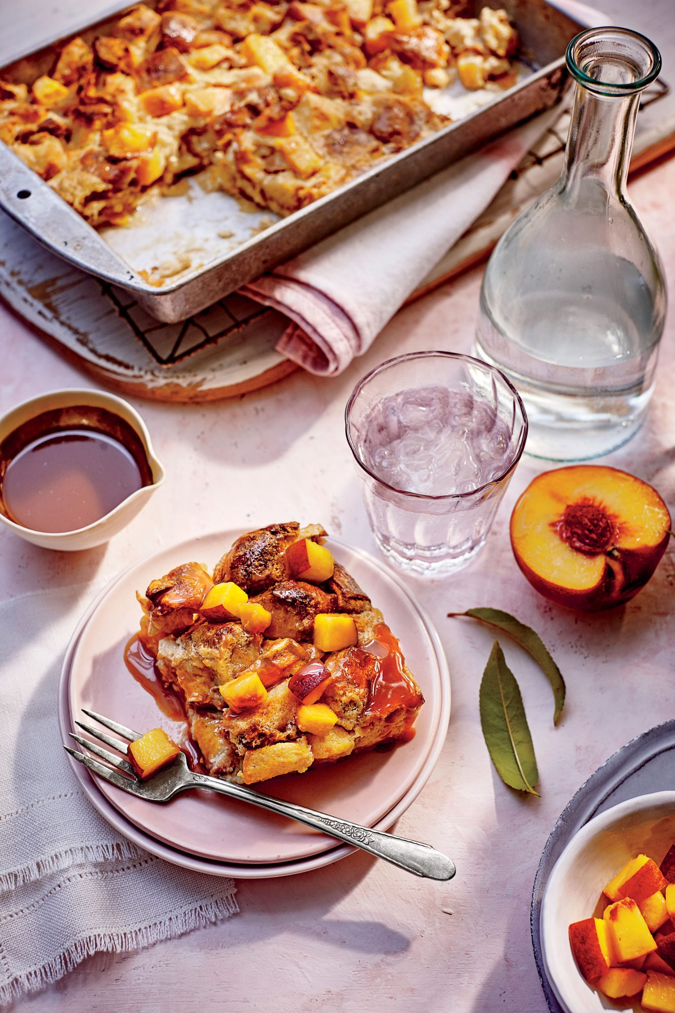 Peach Bread Pudding with Bourbon Caramel