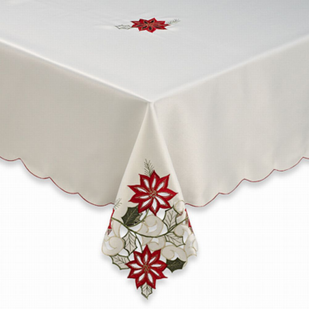 Fabric Tablecloth With Poinsettia Cutout