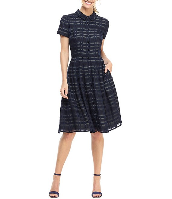 Mackenzie Collared Window Pane Button Front A-Line Dress