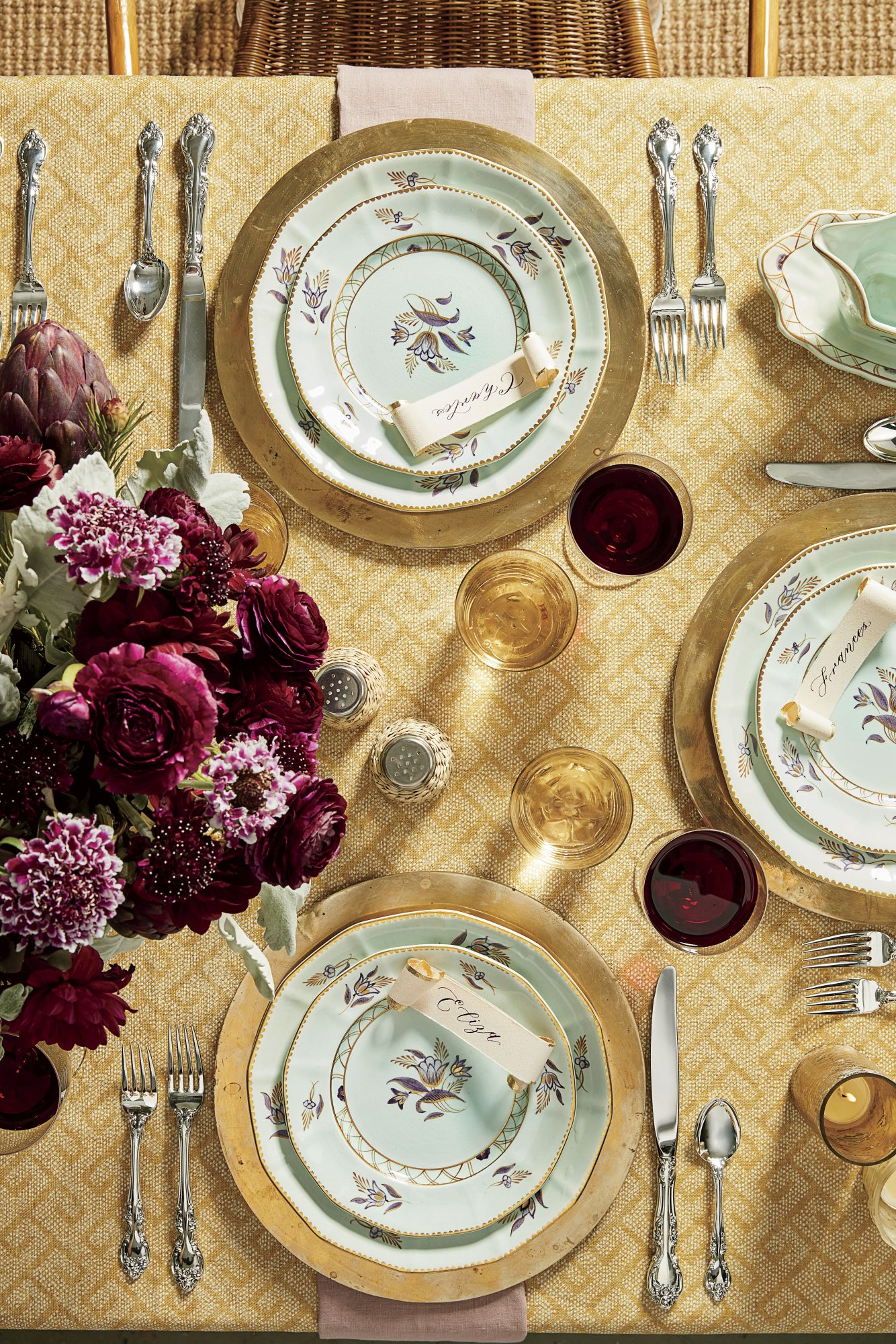 Pastel and Gold Thanksgiving Table Setting