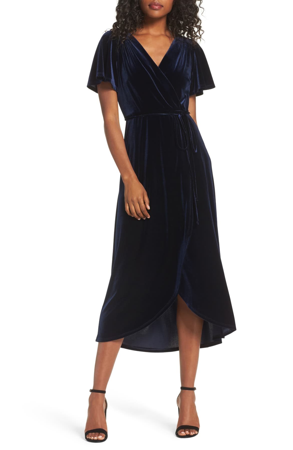 Velvet Faux Wrap Midi Dress