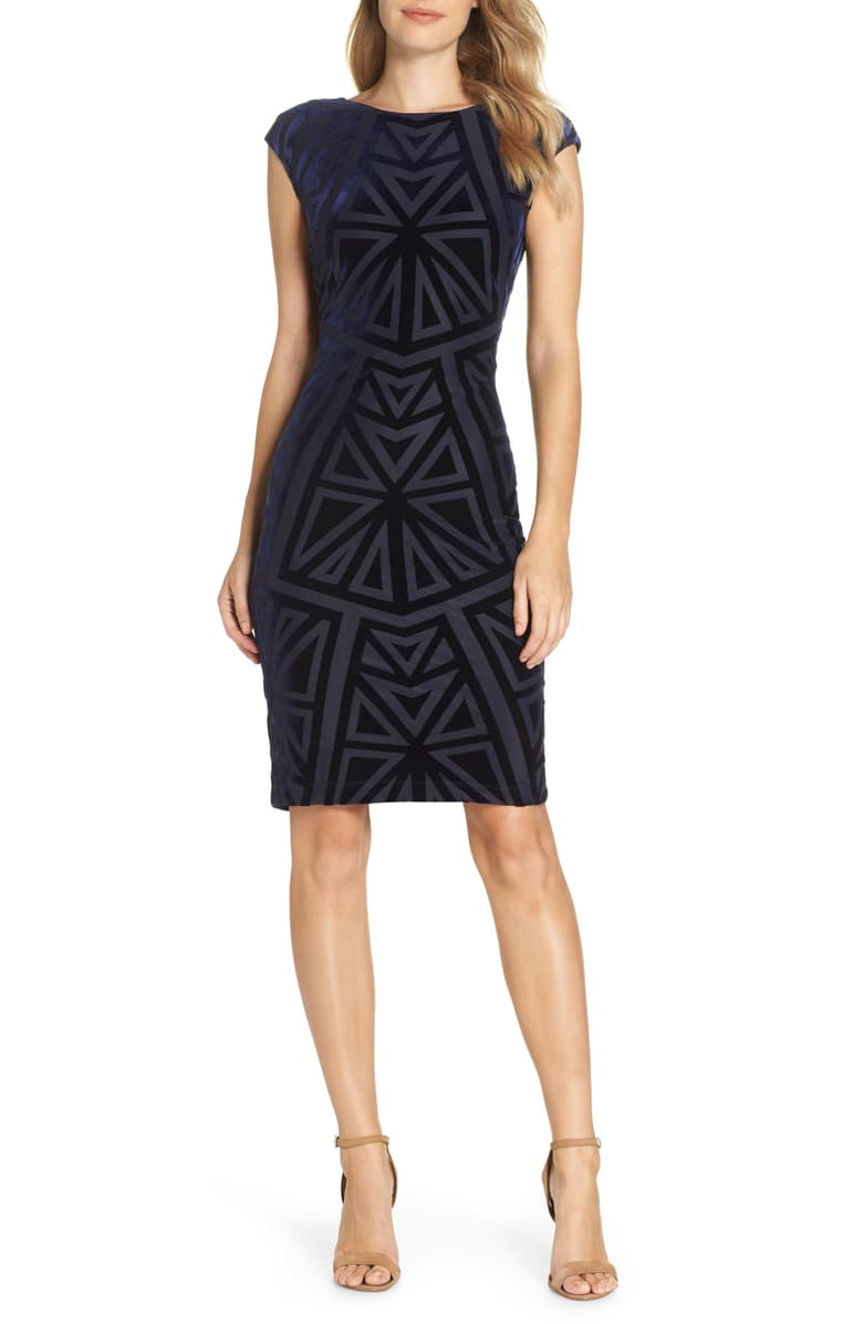 Velvet Jacquard Sheath Dress