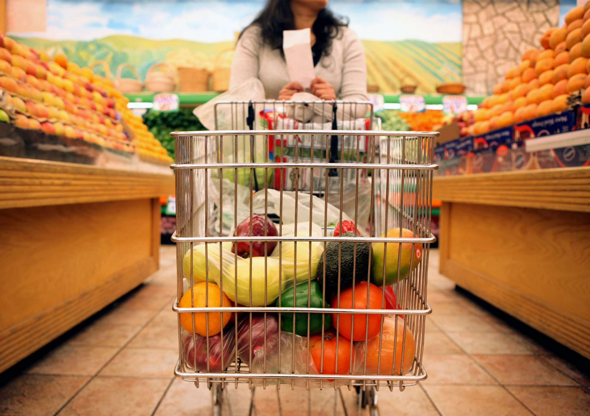 Woman and Grocery Cart