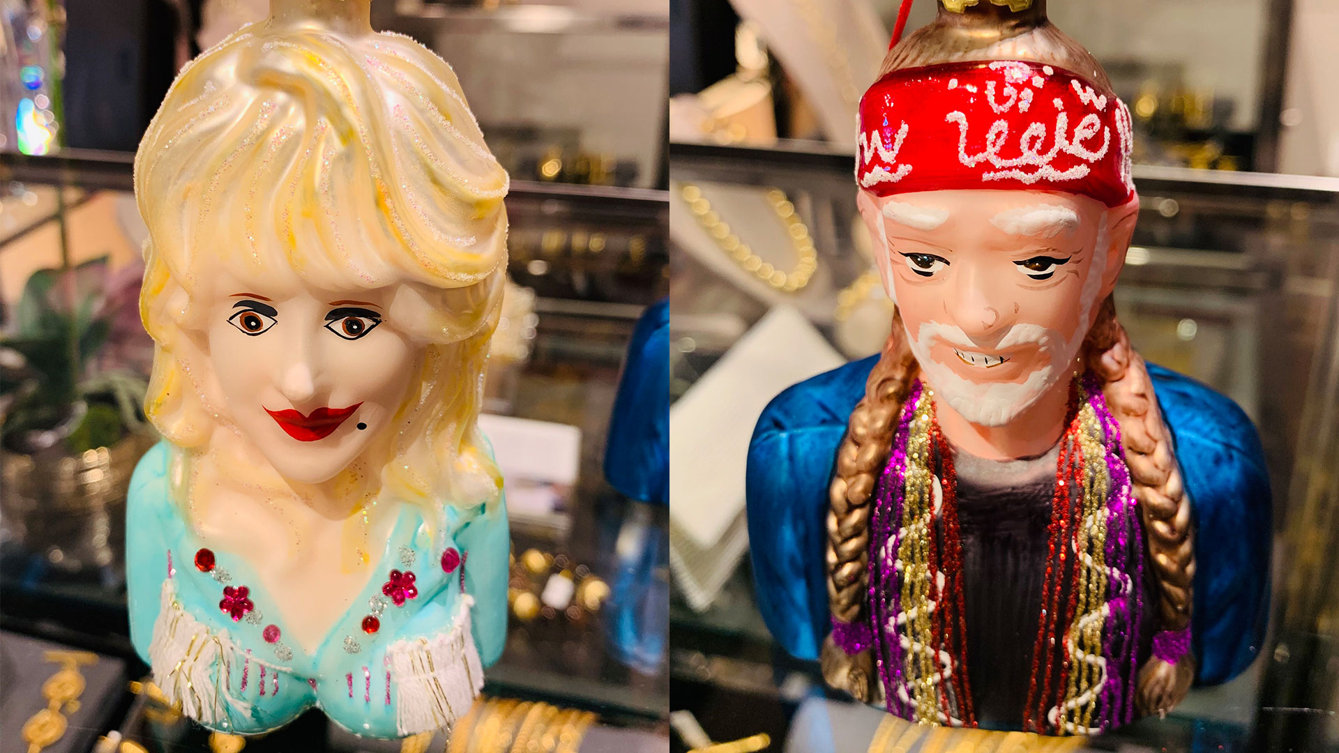 Dolly Parton and Willie Nelson Christmas Ornaments