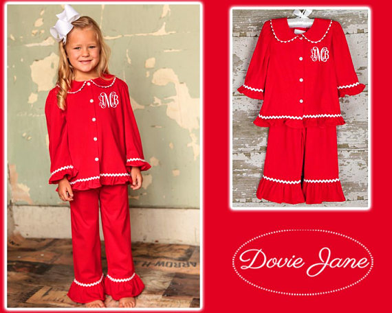 Monogrammed Two Piece PJ's With Scalloped Trim