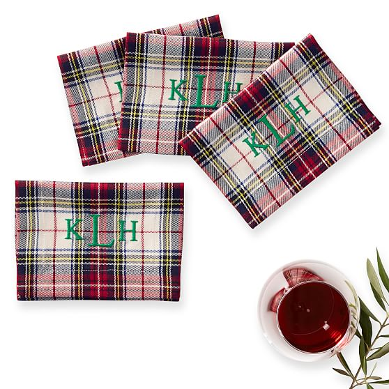 Mark & Graham's Plaid Cocktail Napkins