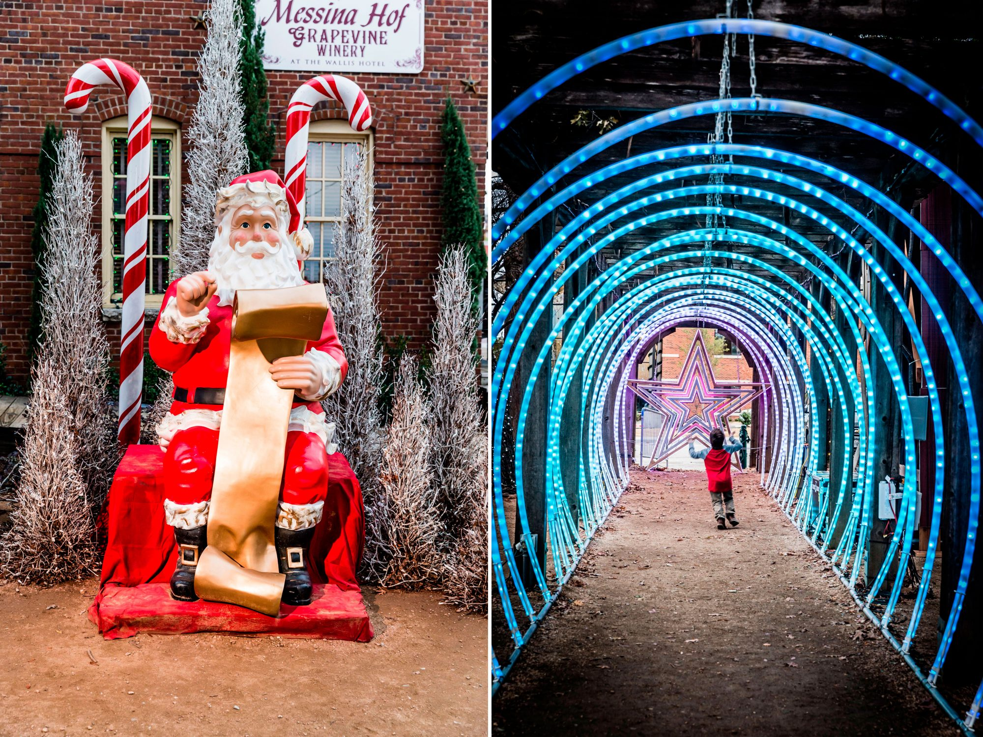 Grapevine, TX Santa and Light Tunnel