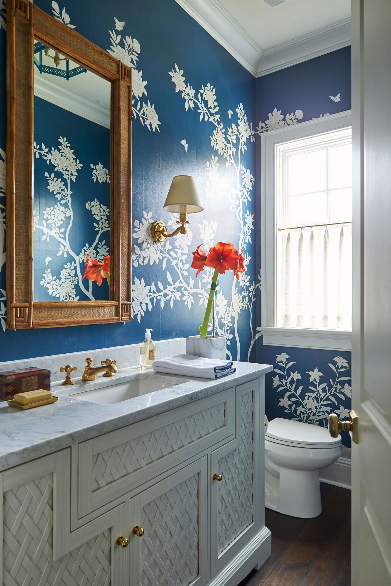 Andrew Howard Home Decorated for Christmas Blue and White Powder Room