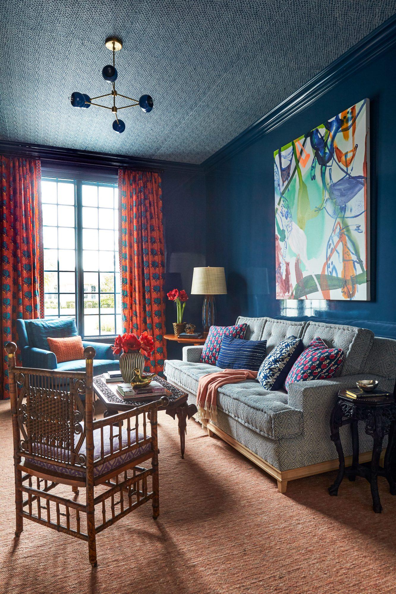 Andrew Howard Home Decorated for Christmas Blue Den/Living Room