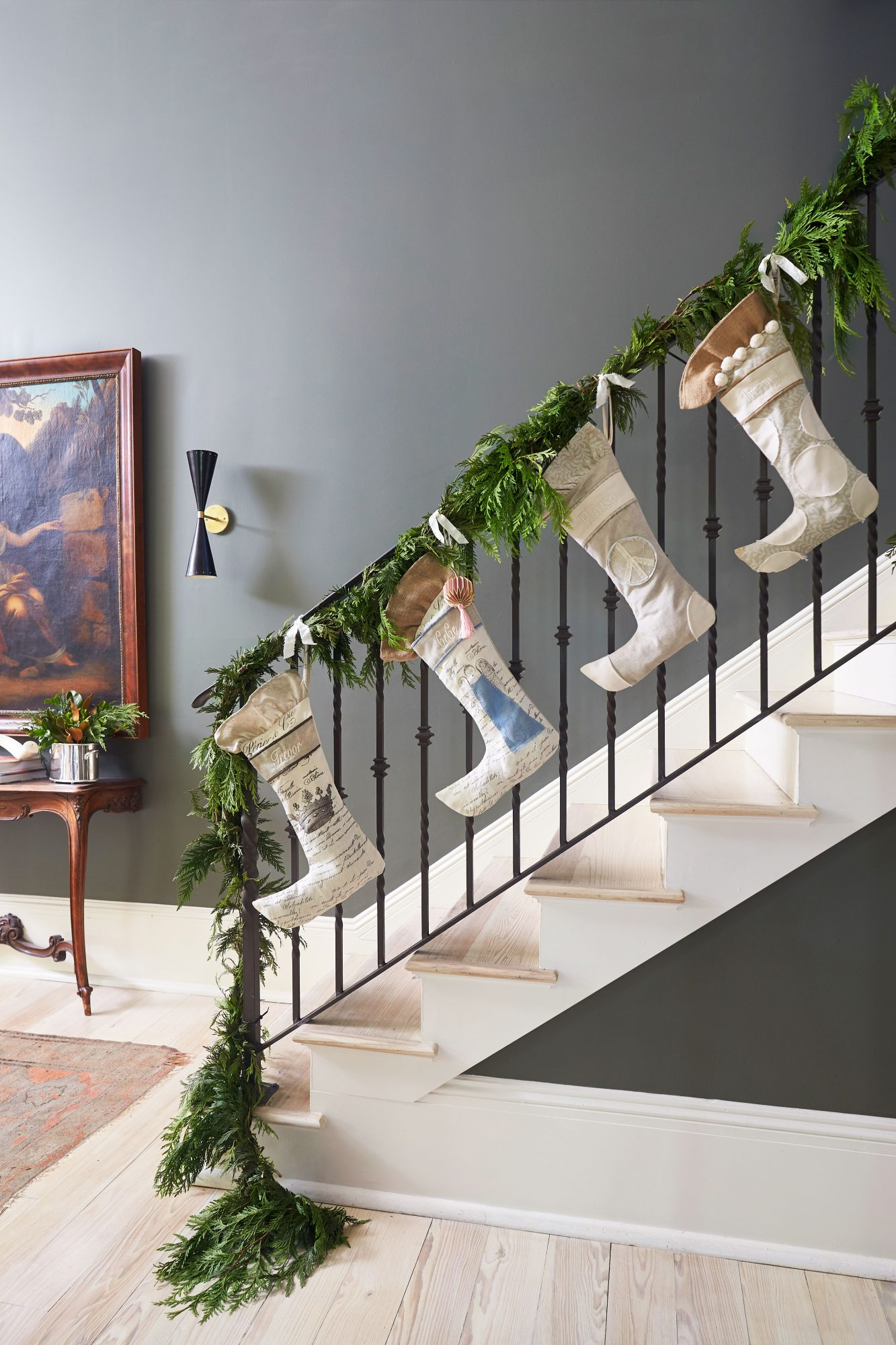 Cece Calhoun New Orleans House at Christmas Stocking on the Stairs