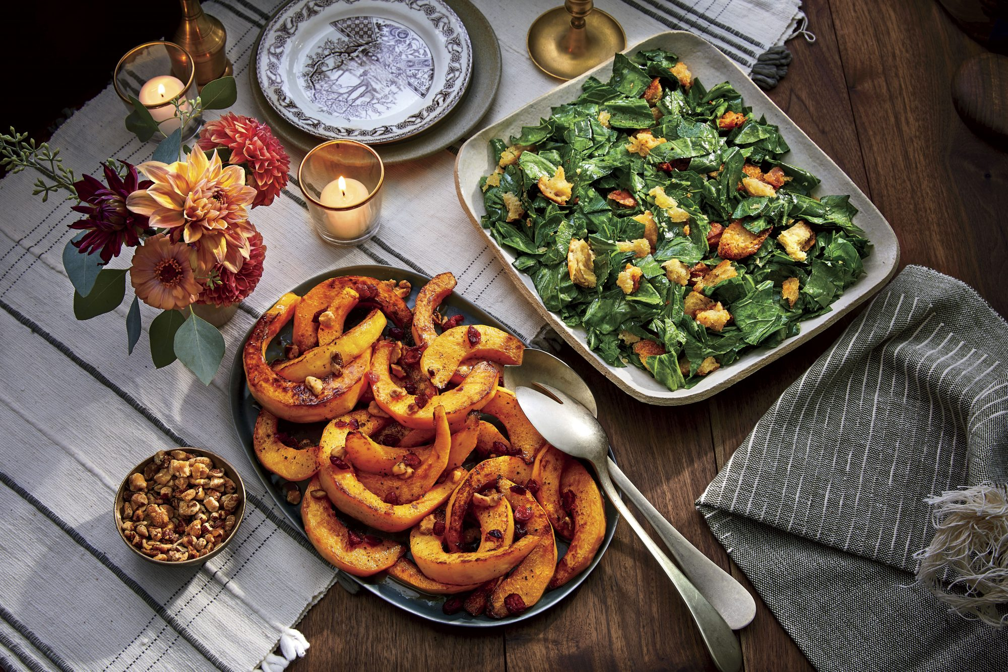 Candy Roaster Squash with Sorghum, Black Walnuts, and Cranberries
