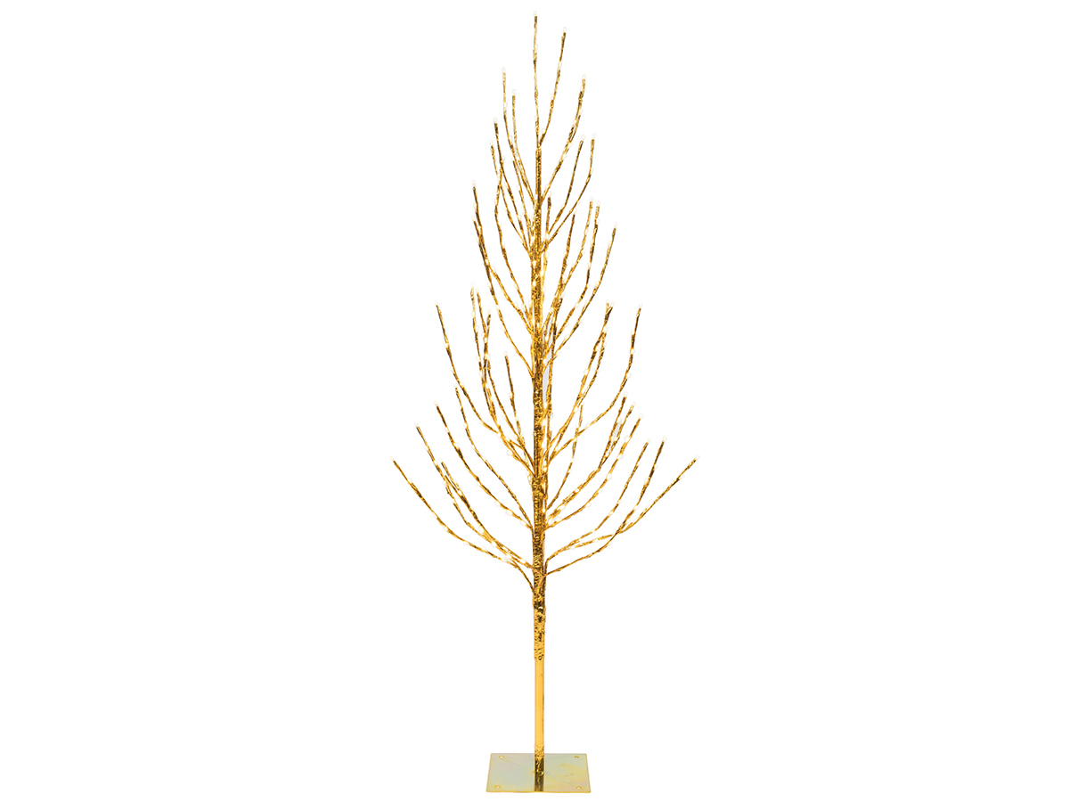 6' Gold Tree LED560 WmWht Falt Base