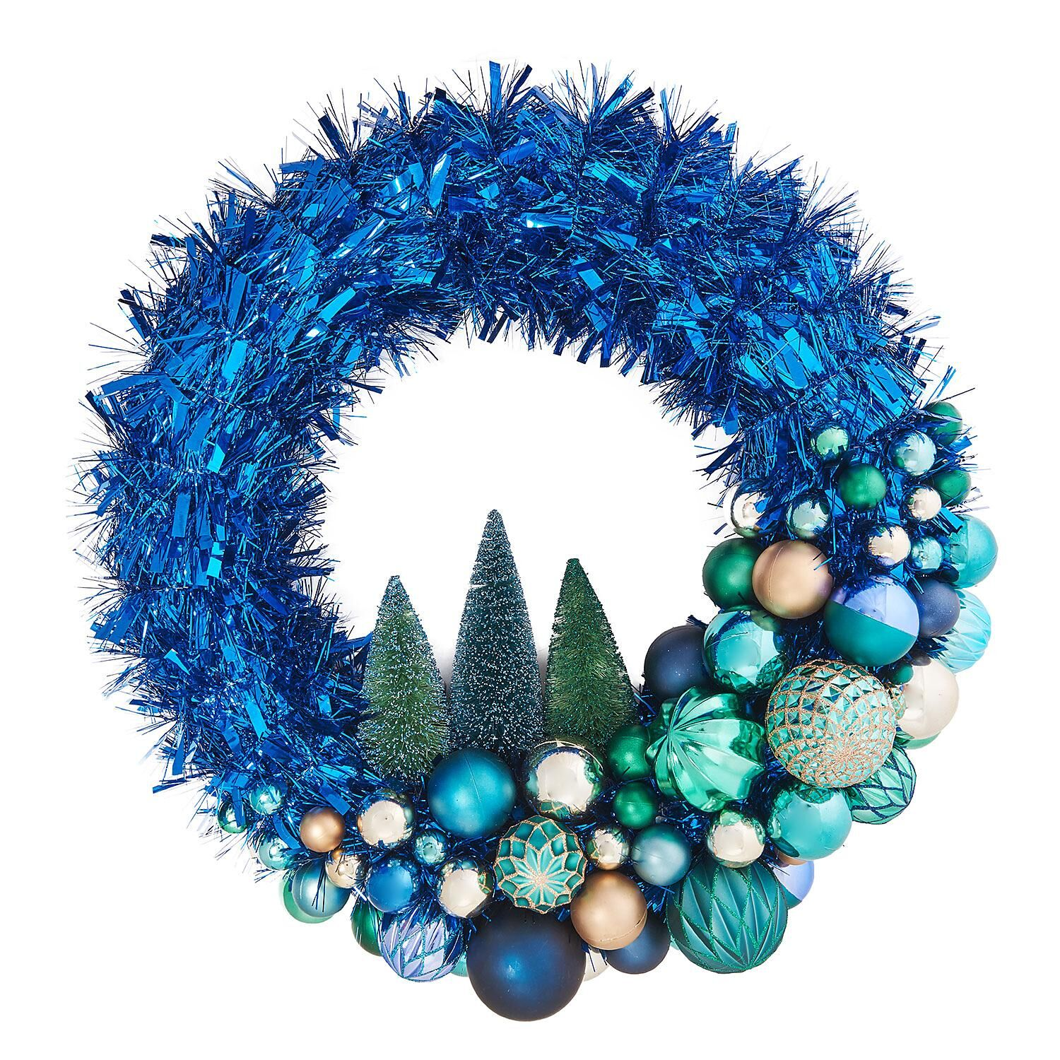 Member's Mark 24  Shatterproof Ornament Tinsel Blue Wreath