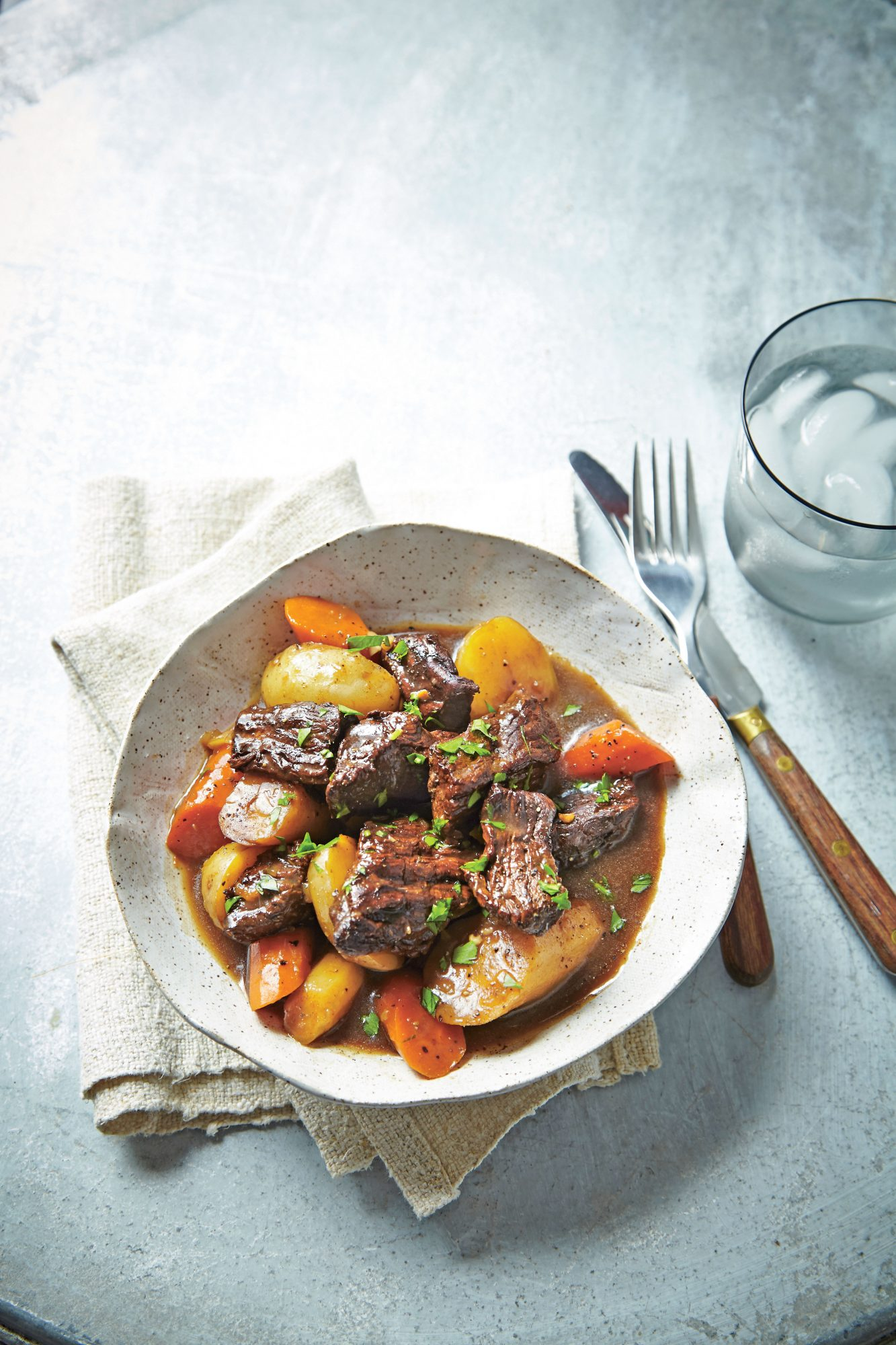 Beer-Braised Beef Tips with Root Vegetables and Horseradish