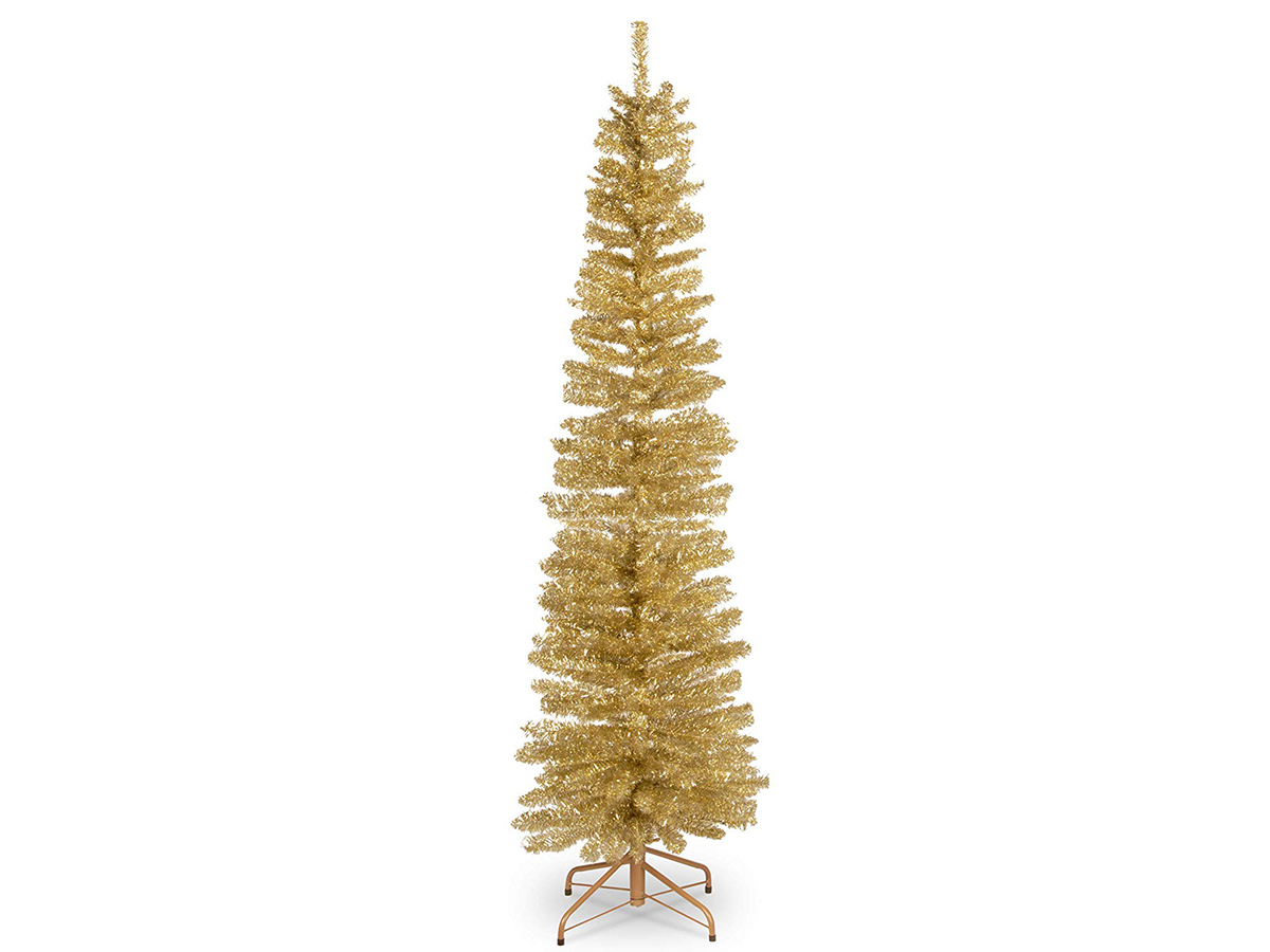 National Tree 6 Foot Champagne Gold Tinsel Tree with Metal Stand