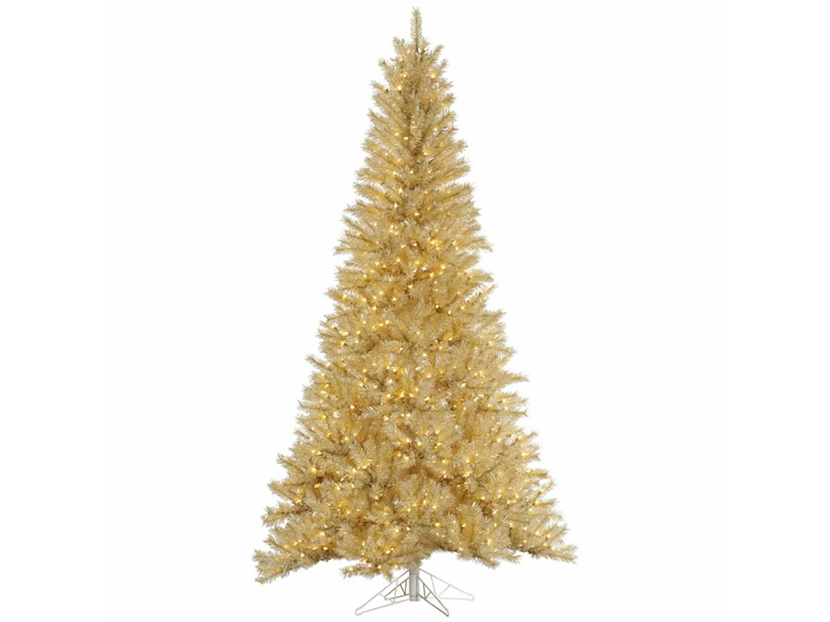 Tinsel 7.5' Gold Pine Artificial Christmas Tree with 700 Clear Lights