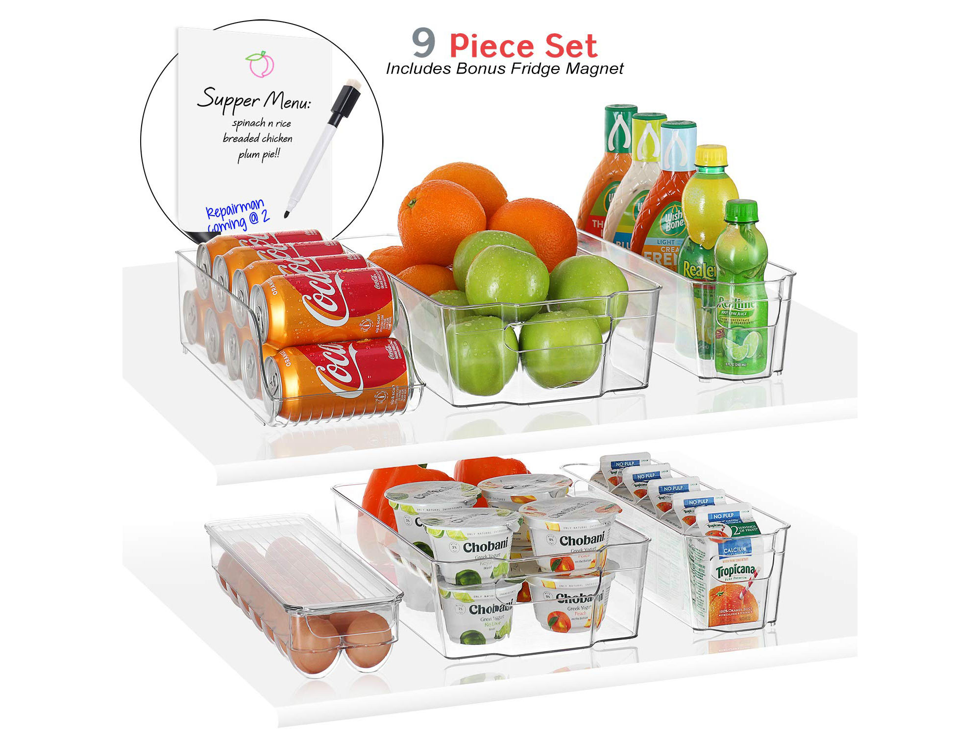 BUY IT: $24.99; amazon.com                             These sturdy storage bins will be your new favorite item in the fridge. The clear plastic allows you to see what's inside each bin at first glance and the handles make them easy to maneuver.