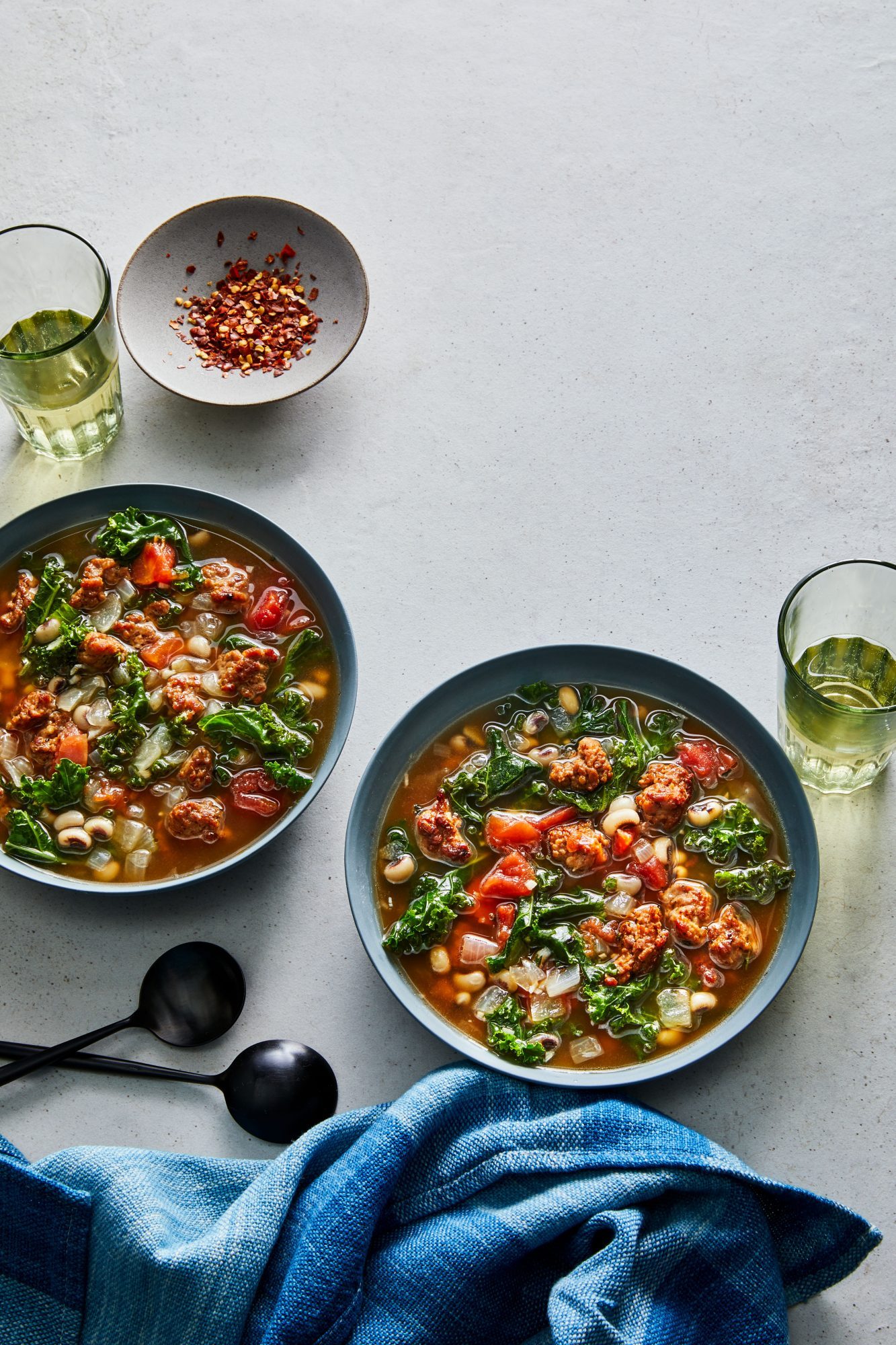 Slow-Cooker Peas-and-Greens Soup with Turkey Sausage