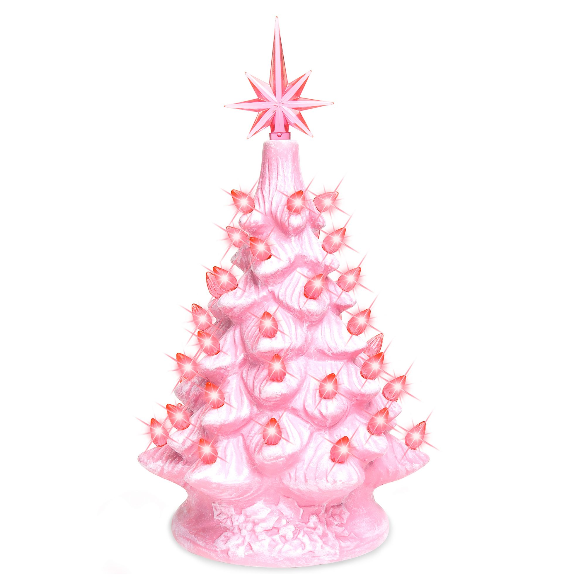 11in Pre-Lit Hand-Painted Ceramic Tabletop Artificial Christmas Tree