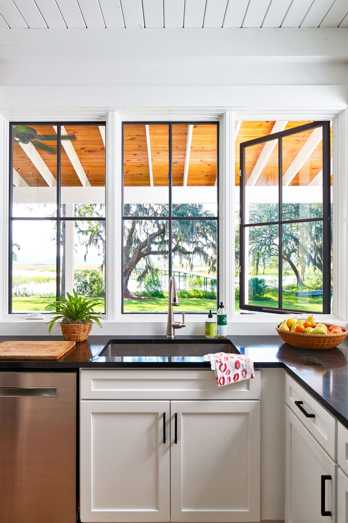 Watson Family Farmhouse in Savannah, GA Kitchen with Water View