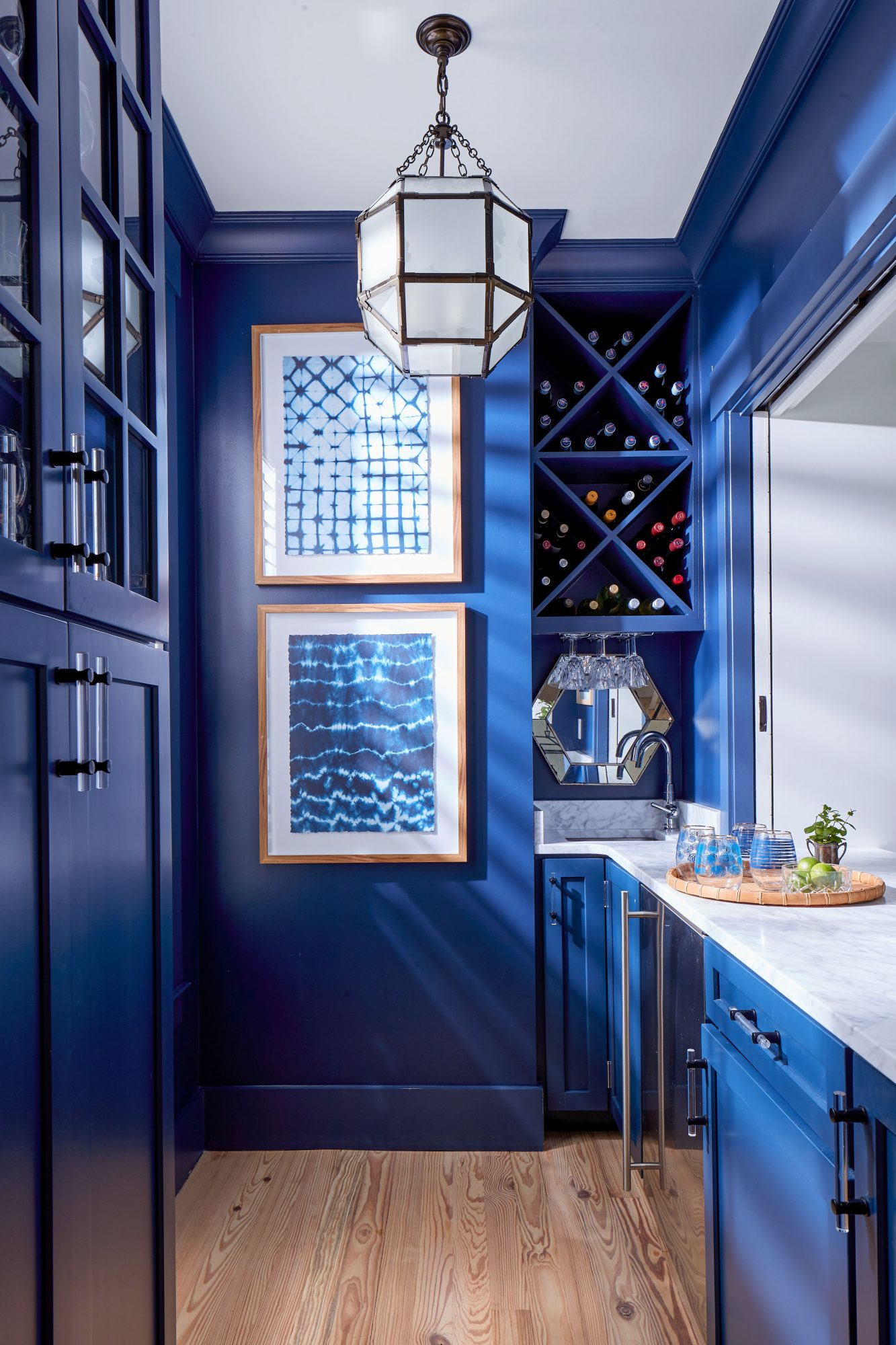 Watson Family Farmhouse in Savannah, GA Blue Wet Bar