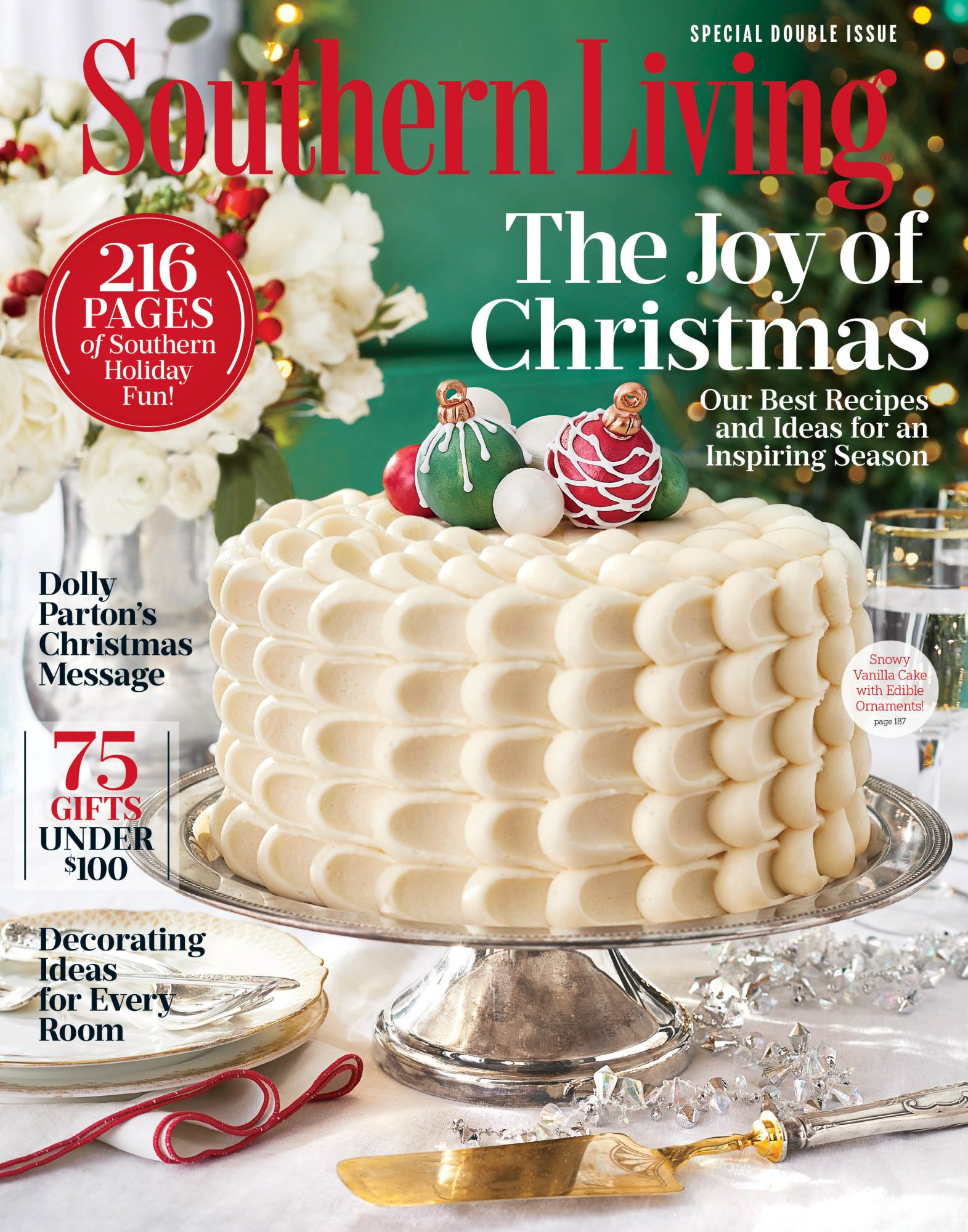 Snowy Vanilla Cake with Edible Ornaments December 2017 Cover