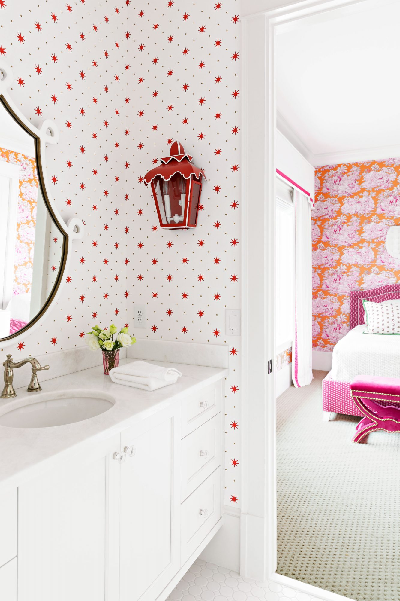 Lidsky Family Home in Windermere, FL Girls Bathroom Red and White