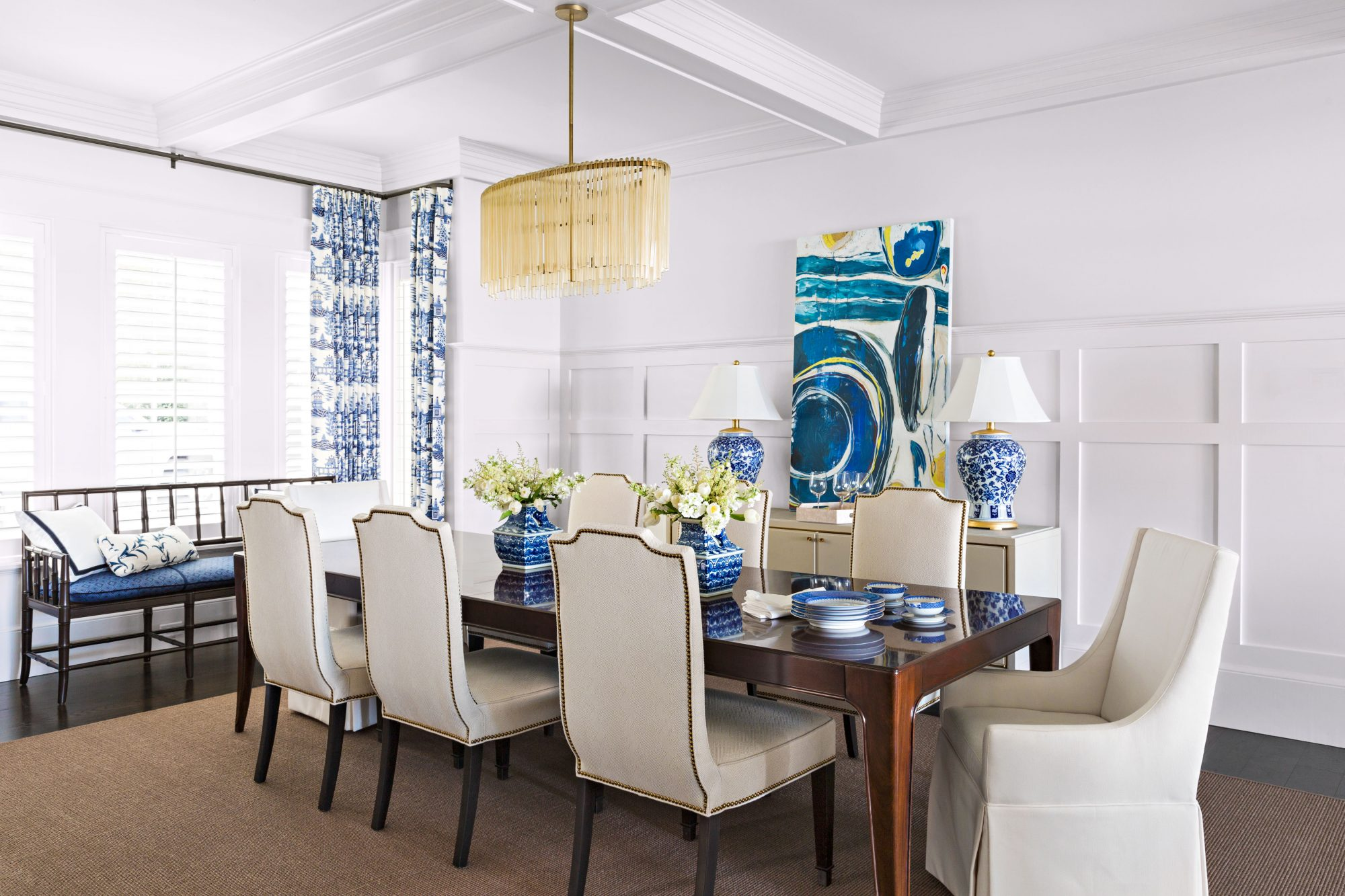 Lidsky Family Home in Windermere, FL Formal Dining Room Blue and White