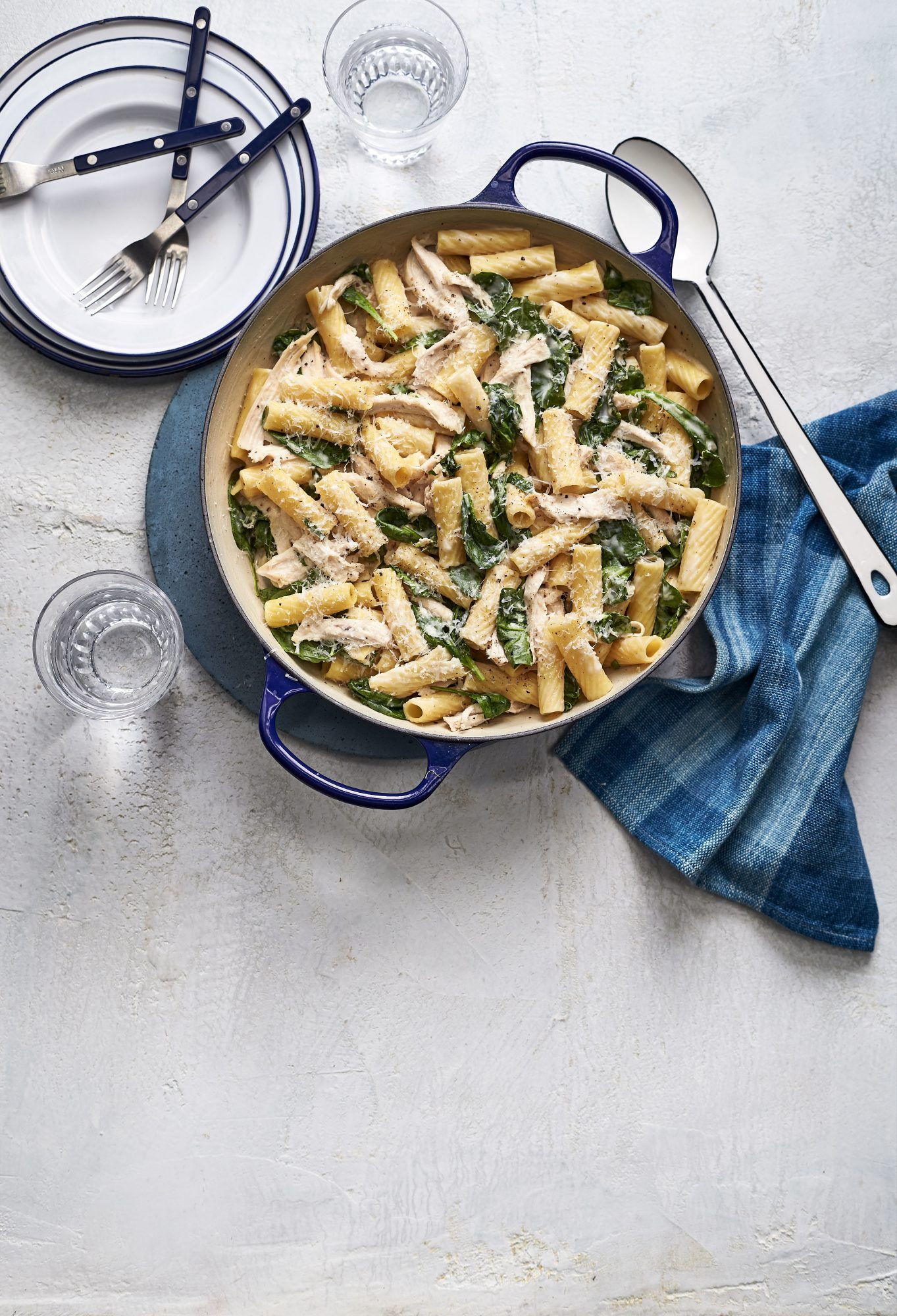 Buttermilk Alfredo Pasta with Chicken and Spinach