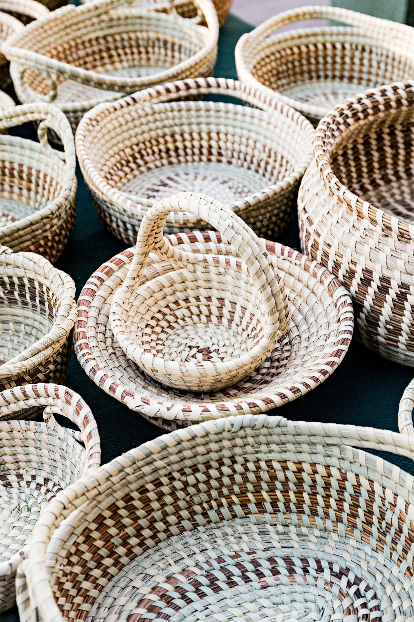 Sweetgrass baskets by Corey Alston