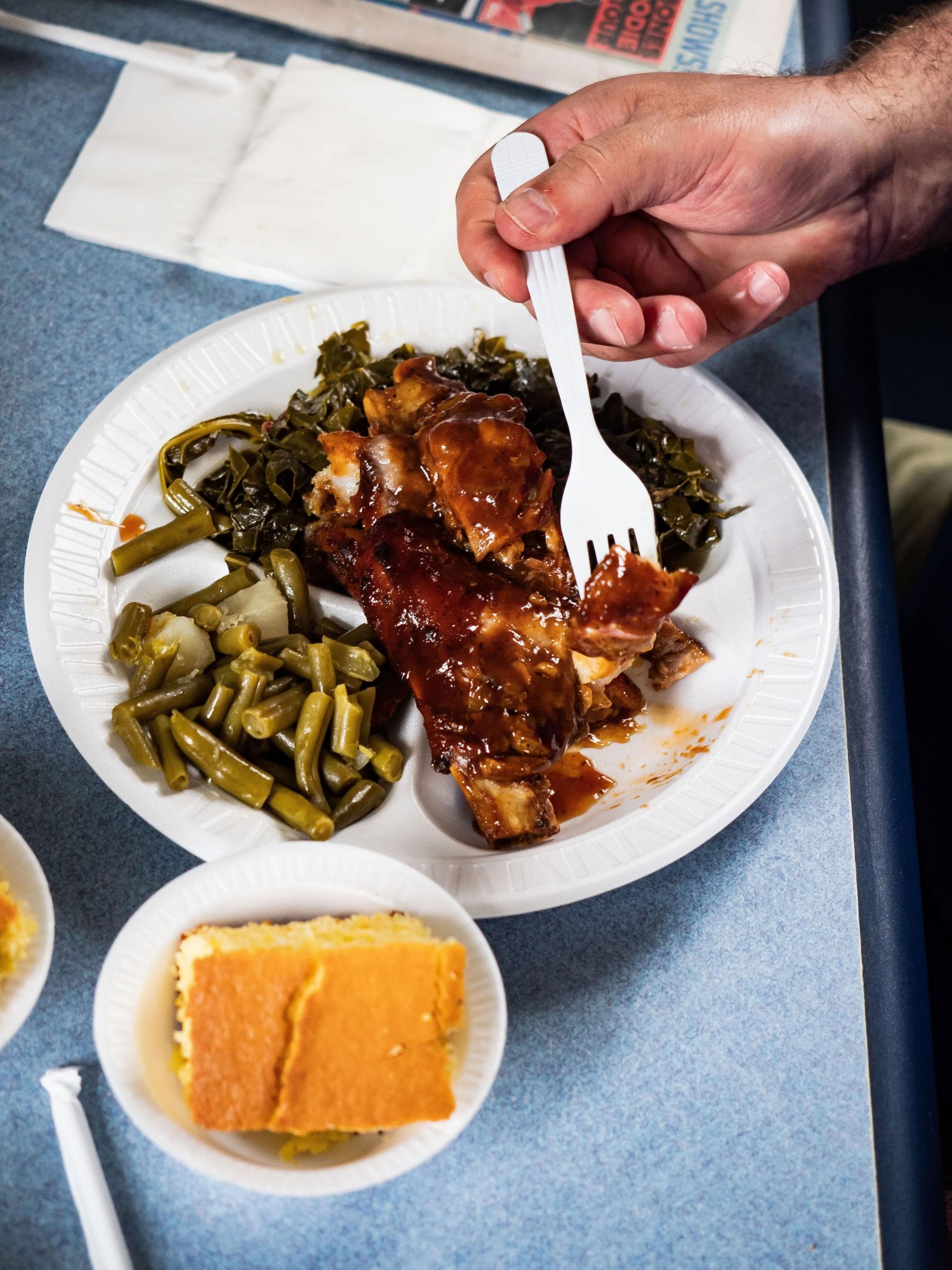 Bertha's ribs, collards, green beans, and cornbread