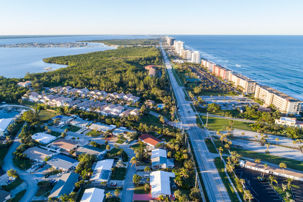 Florida, Hutchinson Island, Jensen Beach, high rise buildings, modular home community, State Road A1A