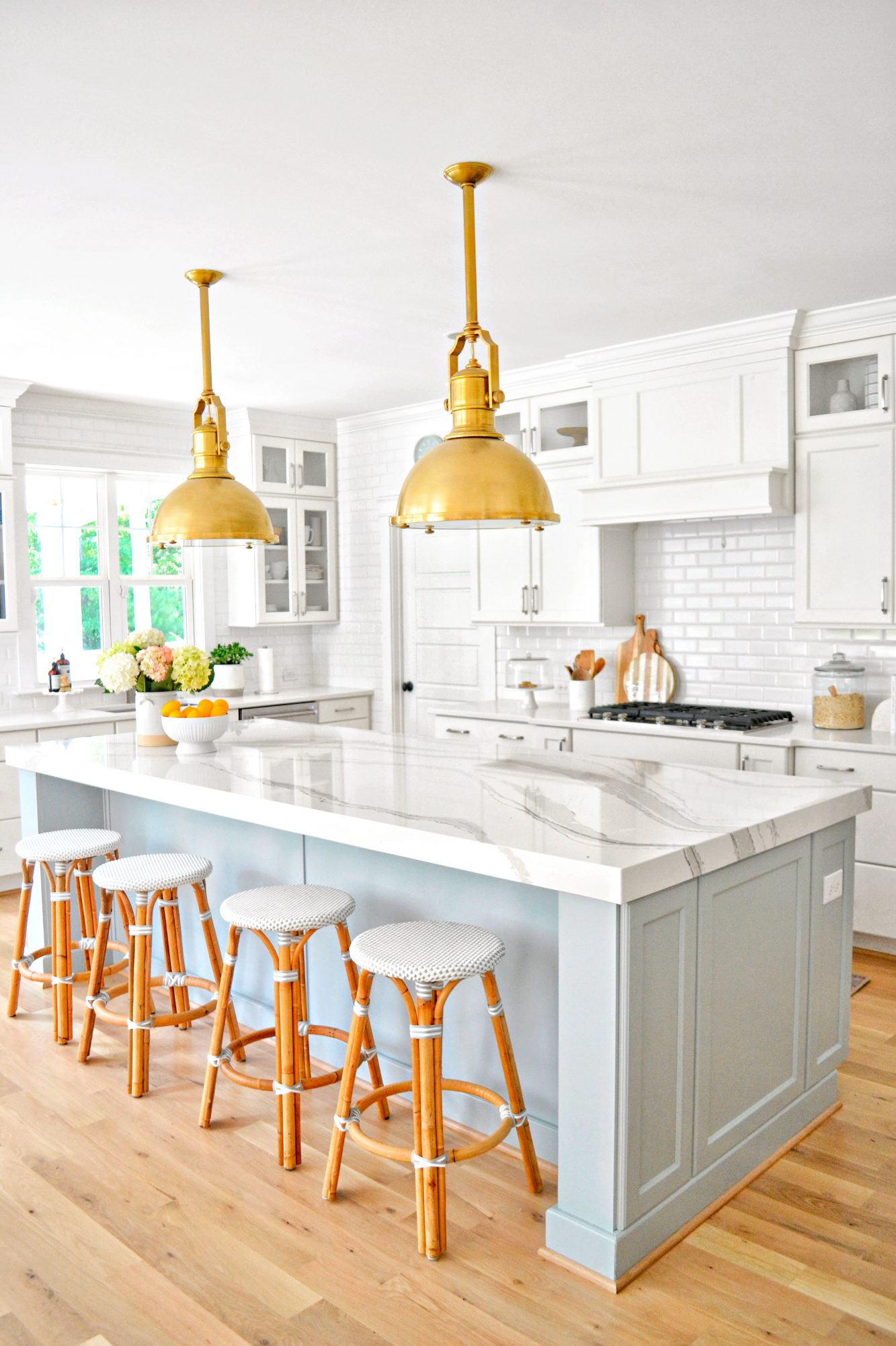 Blue and White Farmhouse Style Kitchen from Chrissy Serrano