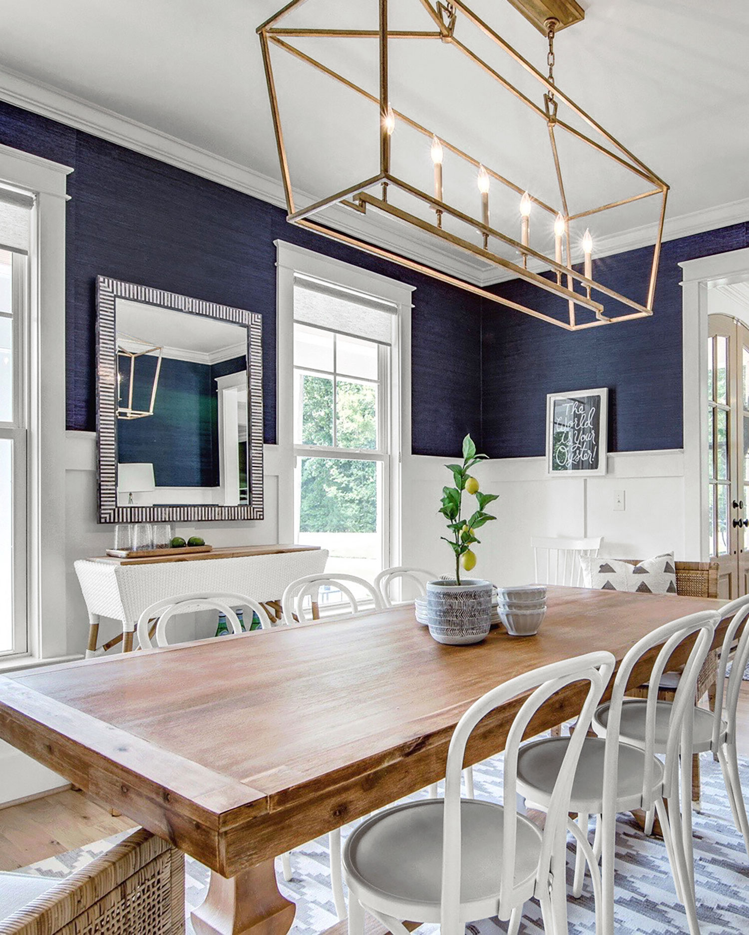 Farmhouse Style Dining Room in Blue and White from Chrissy Serrano