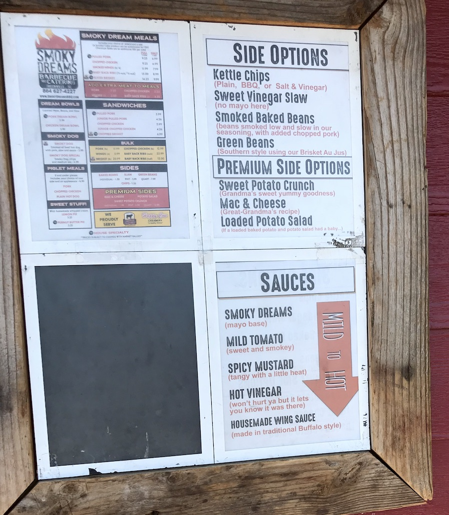 Smoky Dreams Menu Board