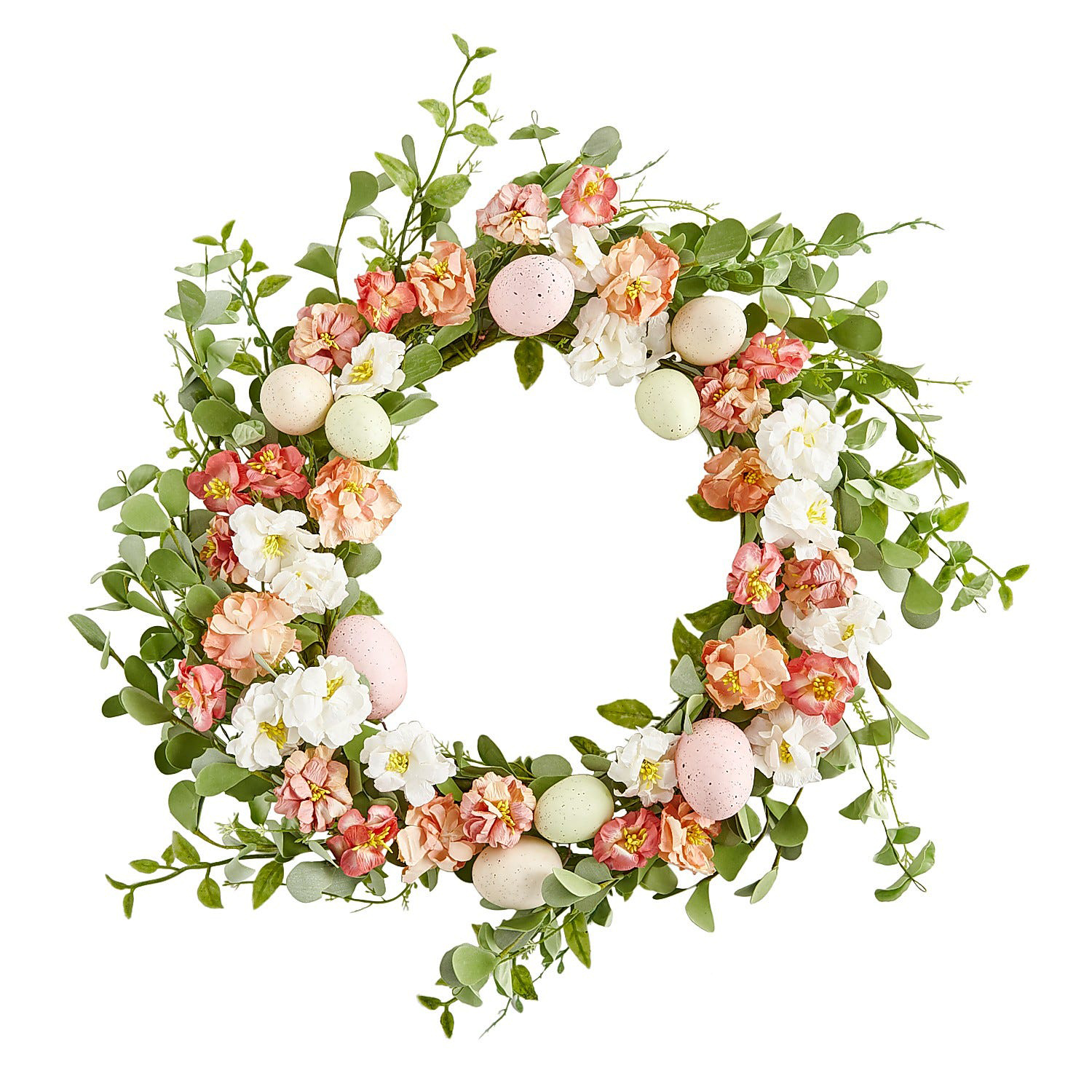Coral Faux Floral & Eucalyptus Wreath with Eggs