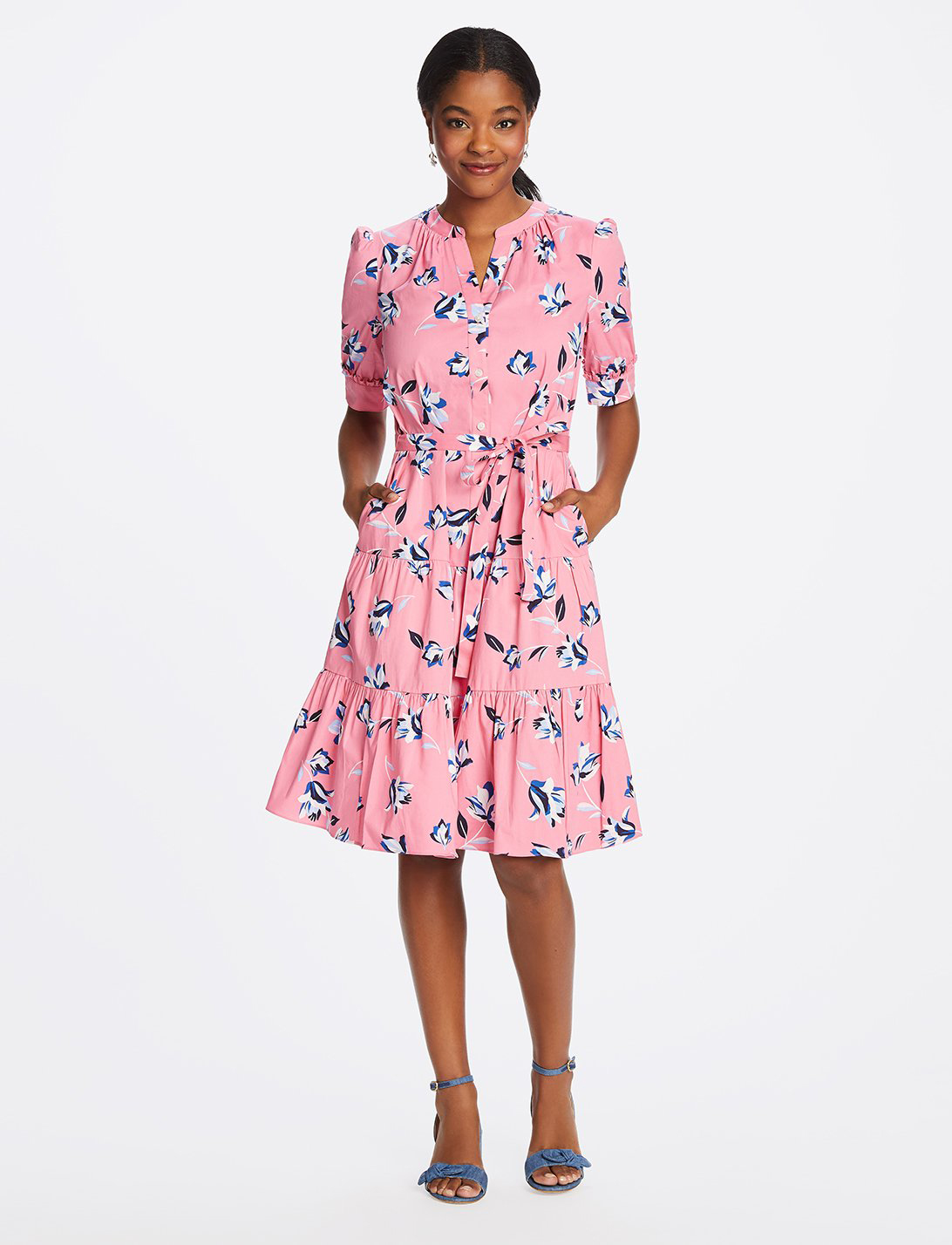 Floral Button Front Midi Dress