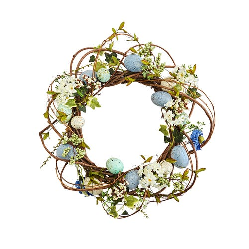 Blue Faux Floral & Egg Wreath