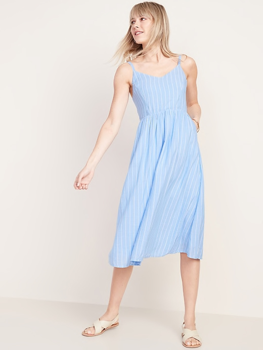 Fit & Flare Striped Cami Midi Dress